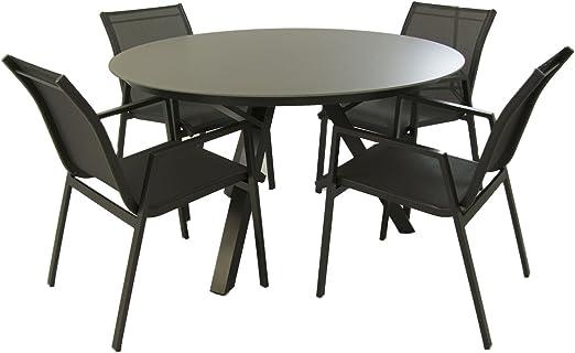 Conjunto Mesa y sillas jardín, Mesa Redonda 130 cm y 4 sillones apilables Respaldo 85 cm, Aluminio Color Antracita y Cristal antirayaduras Color taupé, 4 plazas: Amazon.es: Jardín