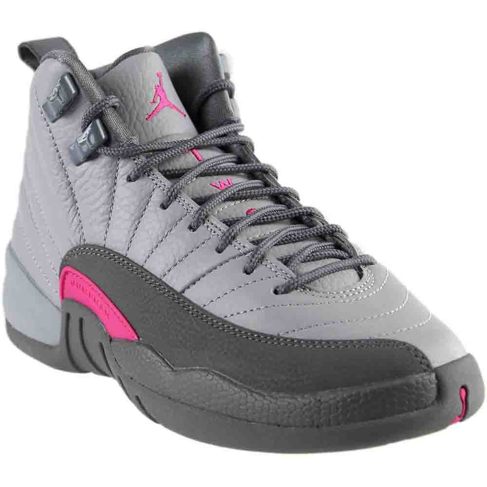 Nike Air Jordan 12 Retro GG Grey/Pink Big Girls Basketball Shoes 510815-029 (4.5)