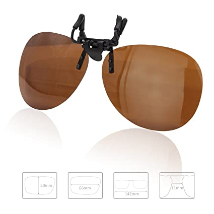 f767ed8b18f8b Enem Day Vision Polarized Brown Clip-on Flip-up AVIATOR Driving Sunglasses   Amazon.in  Car   Motorbike