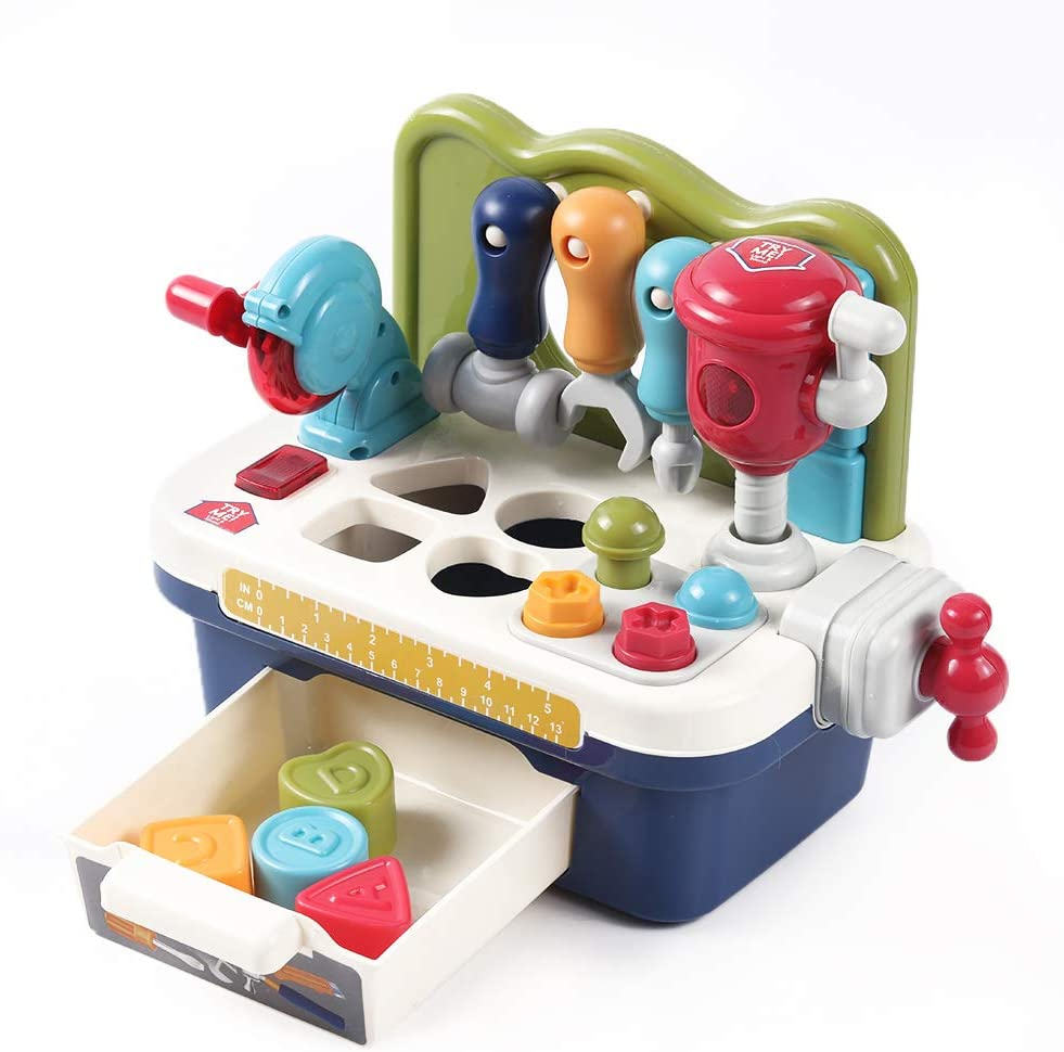 OR OR TU Multifunctional Musical Learning Construction Tool Workbench Toys with Sound /& Lights Effects Engineering Pretend Play Toys for Baby Toddler Kids Age 1 2 3 4 Years Old Boys and Girls