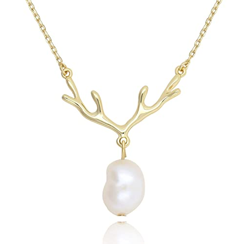 17b1c46ba COZLANE 14K Gold Deer Antler Pearl Necklace with Baroque Pearl Drop Pendant  for Women Girls