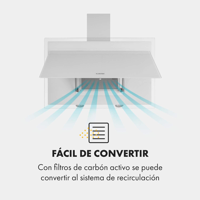 Klarstein Mirage - Campana extractora, Vidrio de seguridad, 3 niveles de potencia, Extracción de salida 550 m³/h, LED multicolor, Eco-Excelencia, Juego de montaje completo, 90 x 50 x 32 cm, Blanco: Amazon.es: Hogar