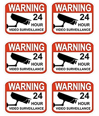 "6 Pcs Professional Popular Video Surveillance Stickers Sign Anti-Robber 24Hr Warning Anti-Burglar Size 2.3"" x 3"""