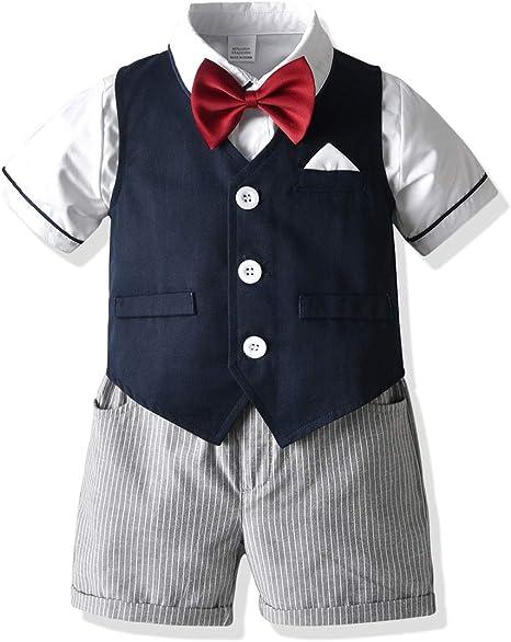 Haokaini Niño Bebé Niño Caballero Traje Camisa + Chaleco + Pantalones Cortos a Rayas + Pajarita: Amazon.es: Deportes y aire libre