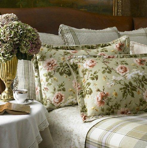 Lauren by Ralph Lauren Bedding; Yorkshire Rose Sage Green Floral Euro European Sham by Lauren by Ralph Lauren