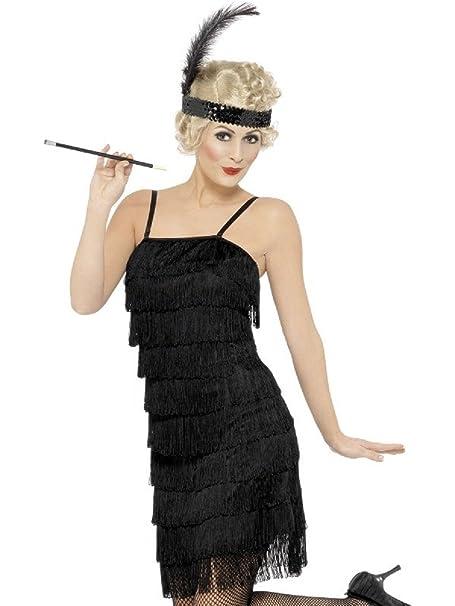 Disfraz Carnaval Mujer Charleston años 20 vestido de baile Jazz * 08600 negro M