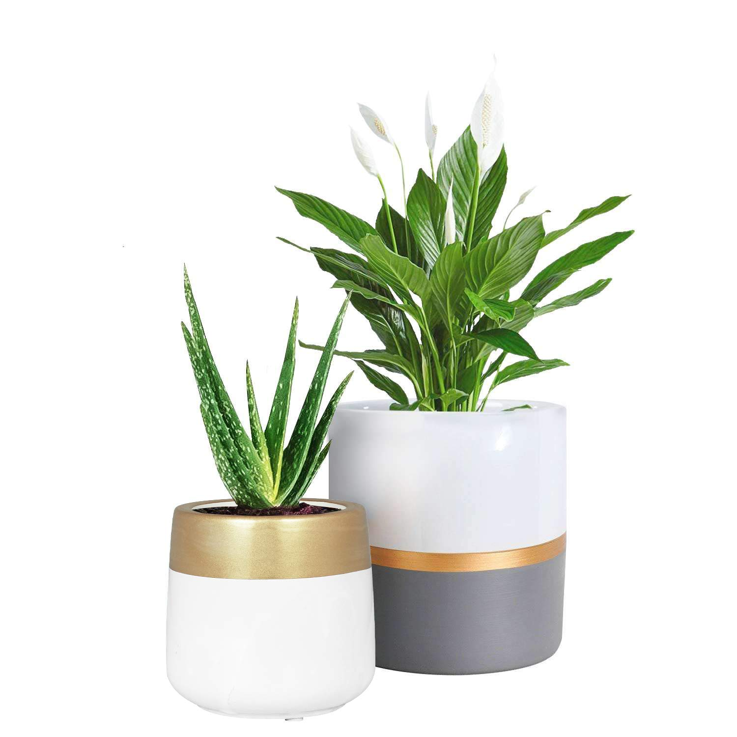 TIMEYARD Ceramic Planter Pots Indoor with Drainage Hole, Set of 2 Flower Pots Cylinder Containers with Gold and Grey Painting Modern Home Garden Decor