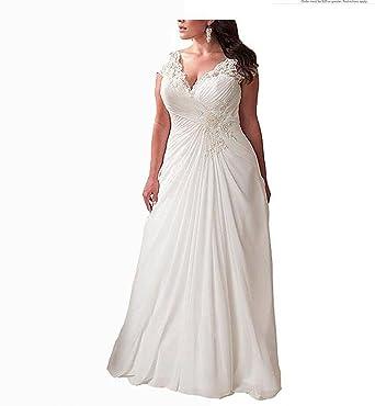 Fancy-Bridal Women\'s Plus Size V Neck Applique Wedding Dresses ...