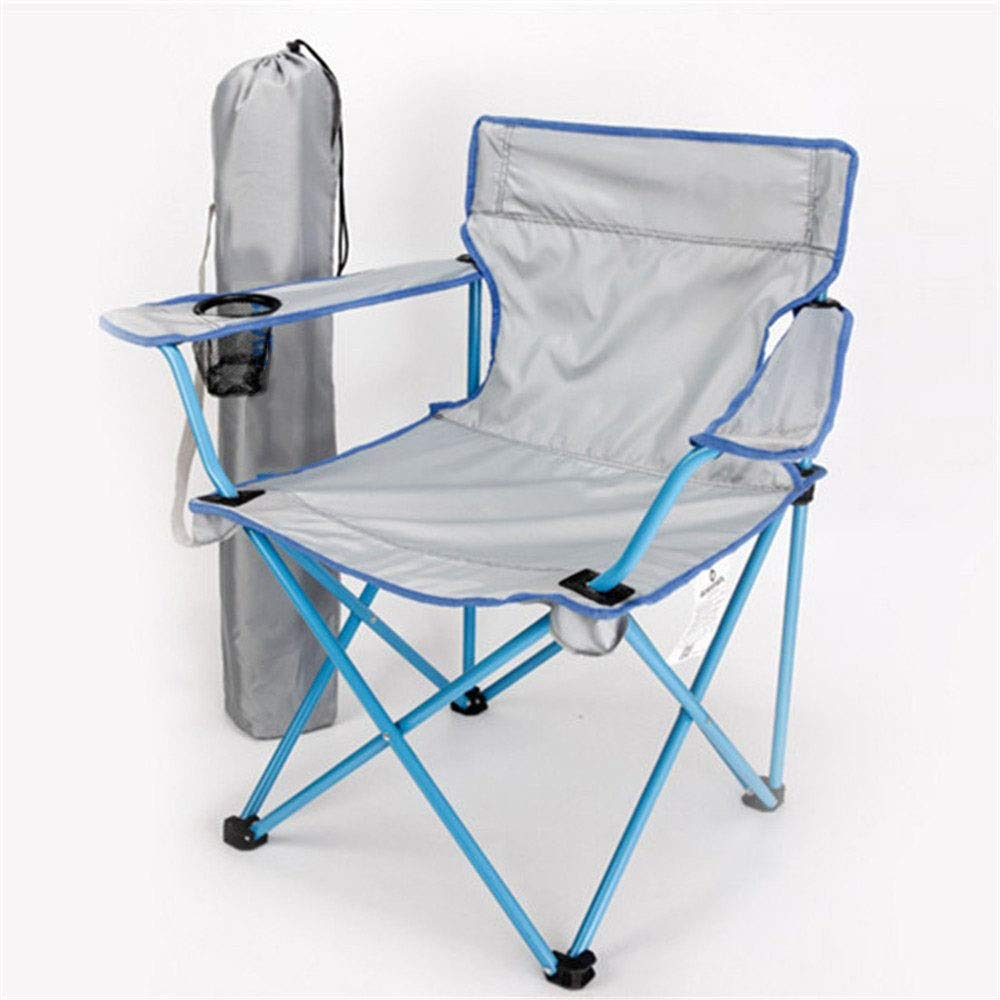 bluee CGH Portable Folding Chair with Arm Rest Cup Holder and Carrying and Storage Bag