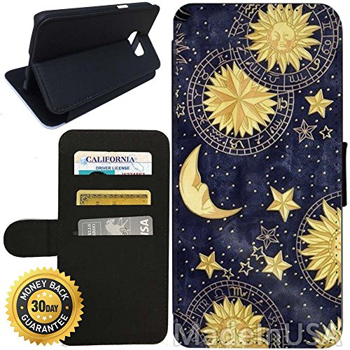 - Flip Wallet Case for Galaxy S7 (Vintage Retro Sun Moon Space Nebula) with Adjustable Stand and 3 Card Holders | Shock Protection | Lightweight | Includes Stylus Pen by Innosub