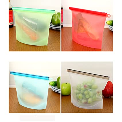 1L Bolsas de almacenamiento de alimentos de silicona Juego de 4- Sello reutilizable y hermético- FLYING_WE Versátil reutilizable alimentos ...