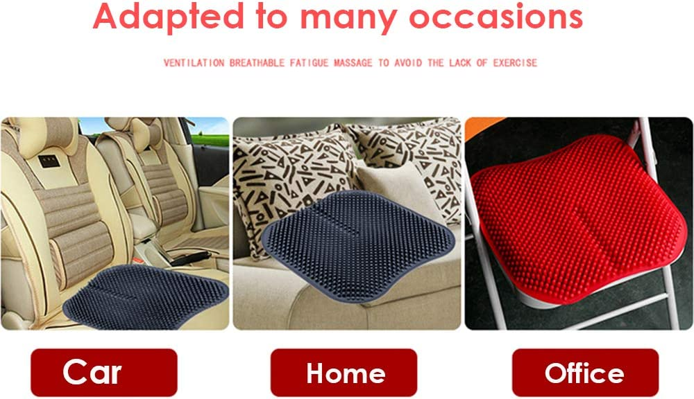 Breathable Silicone Massage Seat Cushion,Unique 3D Pillar Design Relieve Fatigue Car Mat Car Seat Green
