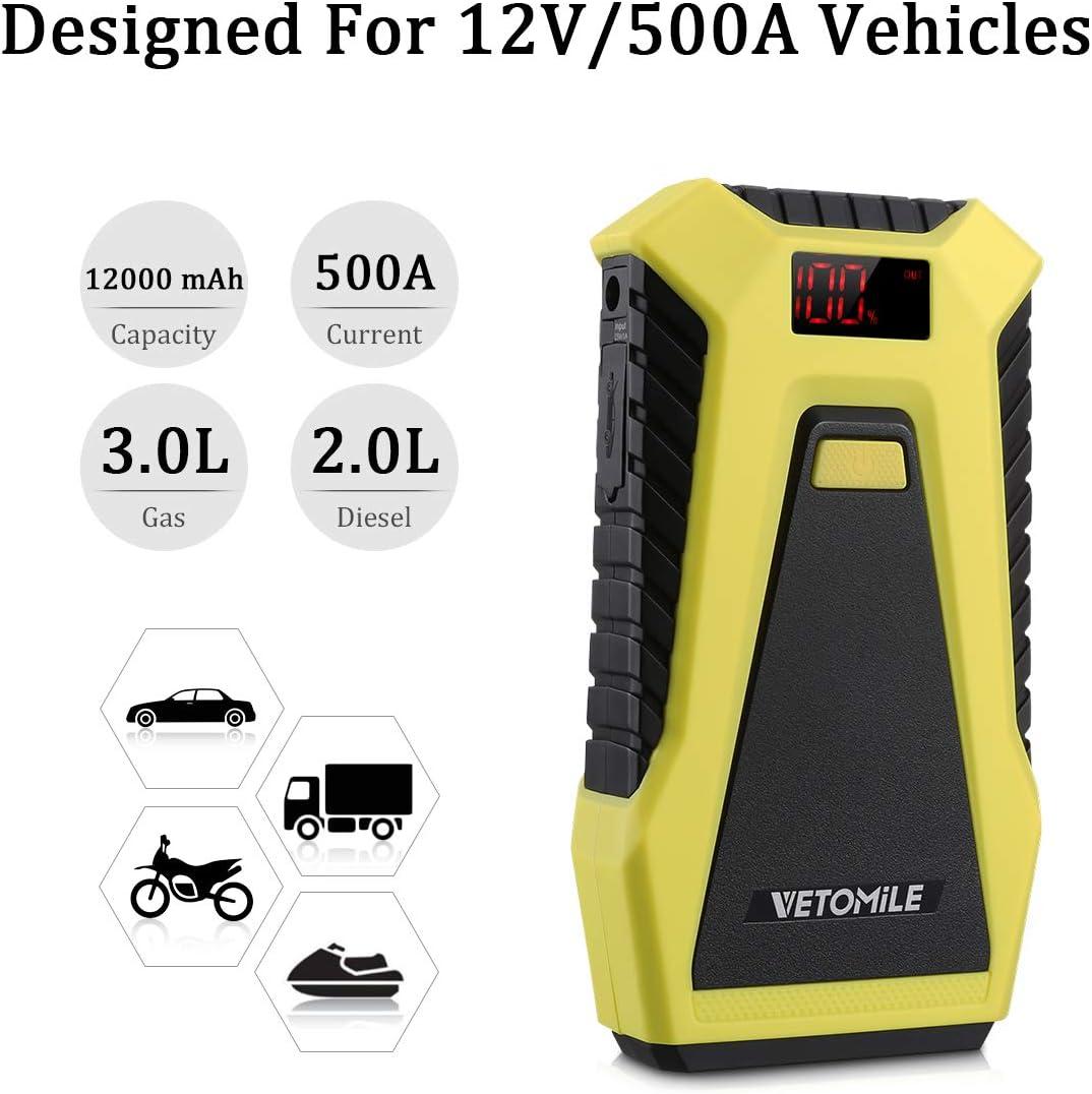 : VETOMILE Booster Batterie 12000mAh Jump Starter