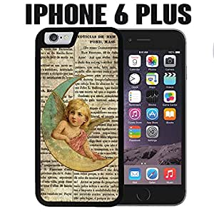 iPhone Case Christmas Moon Angel Vintage for iPhone 6 PLUS Rubber Black (Ships from CA)