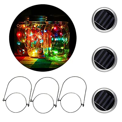[3 Pack]MTZRFLL Solar Powered Mason Jar Lids Lights,20 LEDs Fairy Portable Lanterns,3 Stainless Steel Hangers(Jars NOT Included),for Patio,Garden,Christmas,Wedding,Windowsill (Multi-Colored): Home Improvement