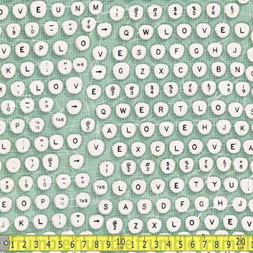 Todas las teclas de la máquina de escribir Clothworks de mi corazón de la tela de costura de color turquesa (Precio por metro): Amazon.es: Hogar