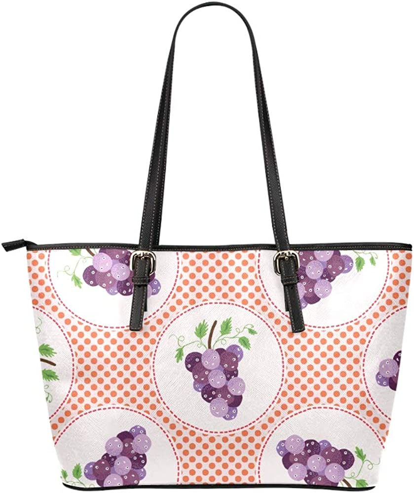 Travel Bag For Kids Ripe Grapes And Leaves Leather Hand Totes Bag Causal Handbags Zipped Shoulder Organizer For Lady Girls Womens Womans Shoulder Bag