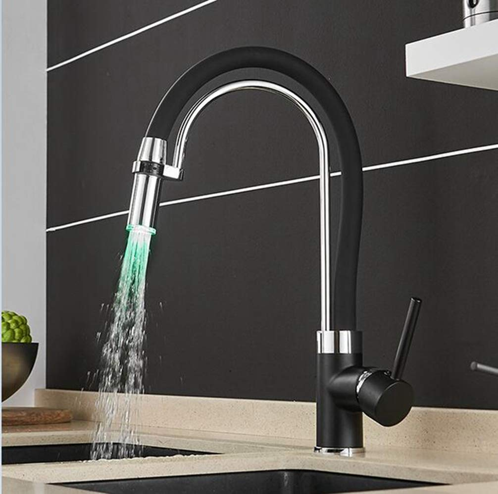 Black FZHLR Led Faucet for Water in The Kitchen Torneira De Cozinha Led Light Sink Faucet Brass Hot Cold Chrome and Black Bath Mixer Tap,Black