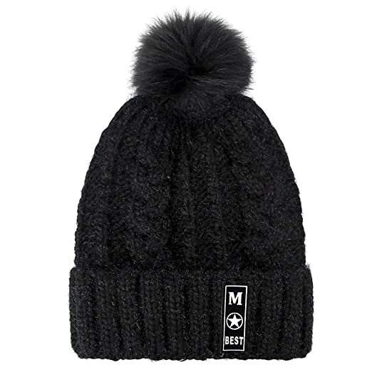Women Winter Hats Thick Cable Knit Faux Fuzzy Fur Pom Fleece Lined Skull Cap  Cuff Beanie 553c3d00270