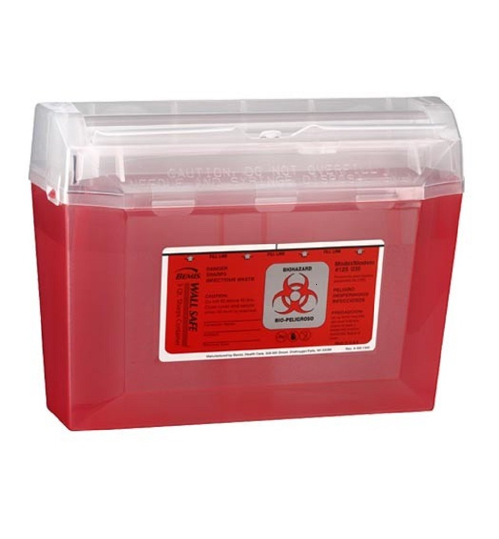 Bemis Healthcare 125 030 Translucent Red Wallsafe Sharps Container, 3 quart (Pack of 24)