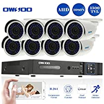 OWSOO 8 Channel H.264 HDMI Full AHD 1080N/720P DVR CCTV Network Surveillance Kit with 8x 720P 1500TVL Outdoor/Indoor Infrared Bullet Camera, Support IR-CUT Night Vision Weatherproof Plug and Play