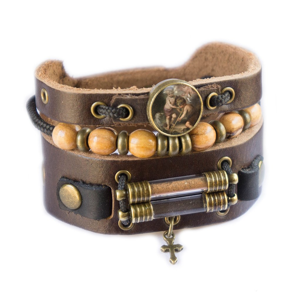 Holy Children Bracelet with Olive Wood Beads, Jordan River Holy Water and Jerusalem Earth (Men size: 7.5 - 8.5 Inches) by Rani Shoket