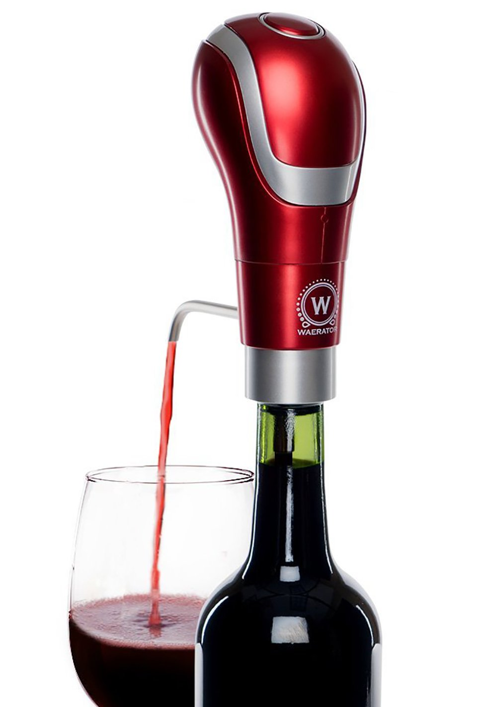 WAERATOR WA-A01-RD Instant 1-Button Electric Wine Aeration and Decanter Pourers, Red