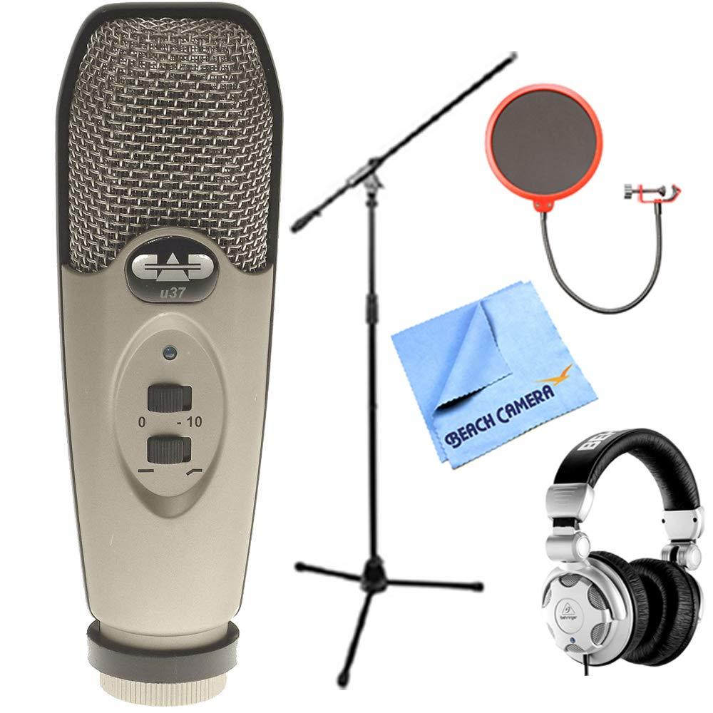 CAD Audio U37 USB Large Diaphragm Cardioid Condenser Microphone w/Tripod, 10' Cable Silver + Mic Wind Screen w/Mic Stand Clip + Mic Stand w/Boom + Behringer HPX2000 DJ Headphones by CAD Audio