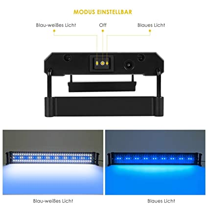 DECKEY Luces de Acuarios y Peceras Lámpara LED para Plantas y Estanques 8W 108LED Longititud Ajustable de 75-90cm con 2 Modos de Iluminación y Enchufe EU: ...