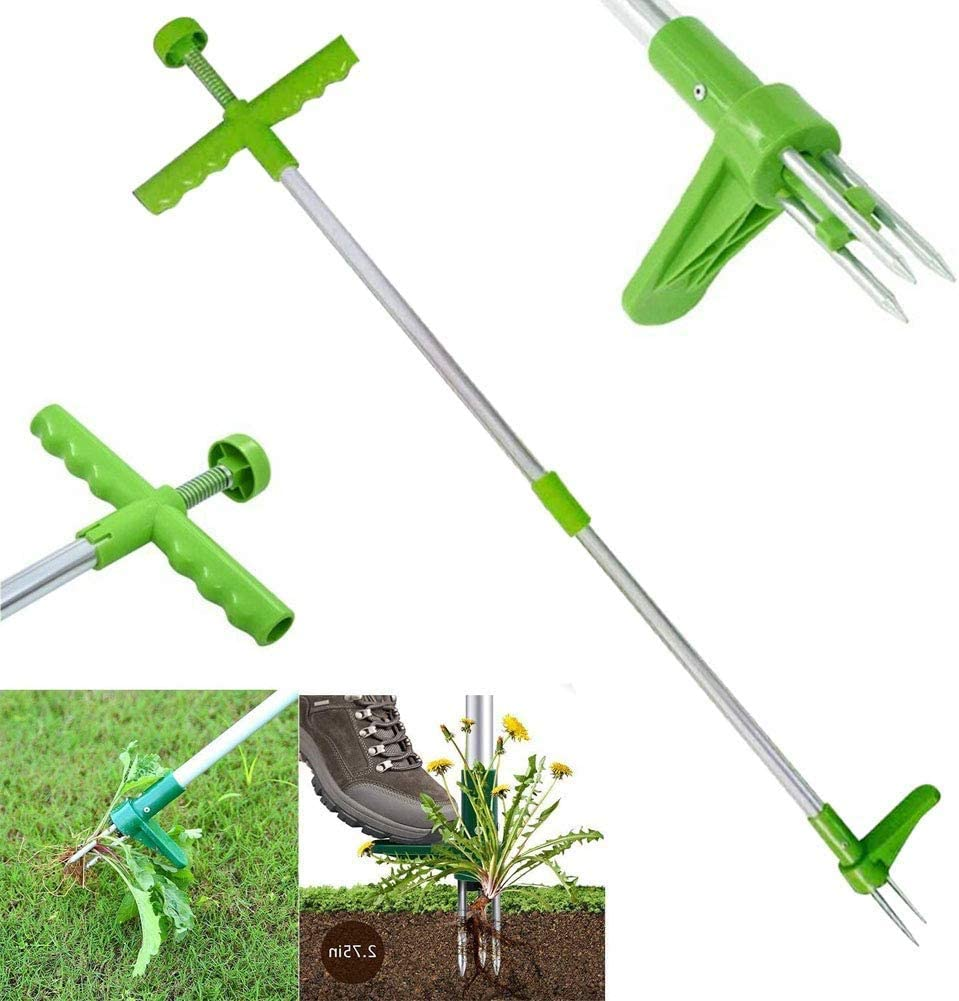 Hilif Garden Stand Up Weeder and Weed Puller Stand up Manual Weeder Hand Tool with 3 Claws Stainless Steel and High Strength Foot Pedal Weed Puller 39 Long Reinforced Aluminum Alloy Pole
