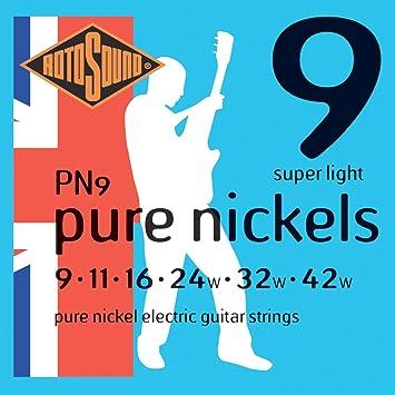 Rotosound PN9 - Juego de cuerdas para guitarra eléctrica de níquel, 11 16 24 32 42: Amazon.es: Instrumentos musicales