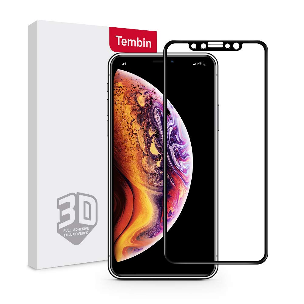 Tembin Tempered Glass Screen Protector for iPhone X ,Full Cover Cold Sculpture 9H Hardness Film Untra Clear Thin 3D Curved Surface Case Friendly Screen Guard for iPhone 10