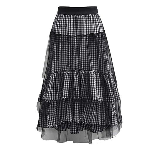 Falda Casual para Mujer Cintura alta Plaid estampado de malla de ...