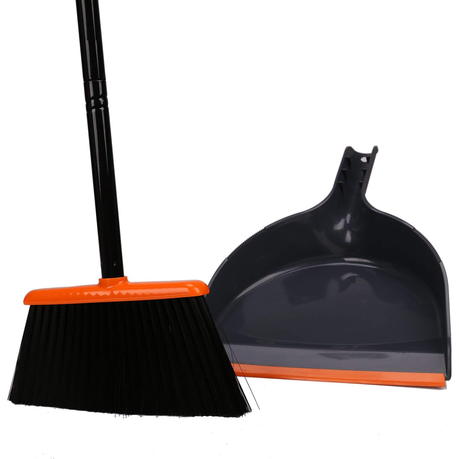 TreeLen Angle Broom and Dustpan, Dust Pan Snaps On Broom Handles - Orange