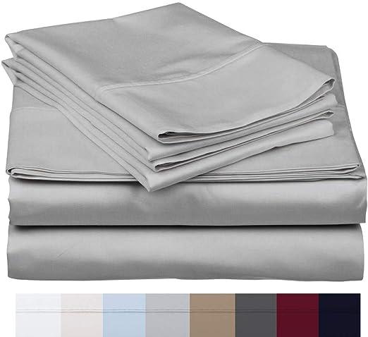 Deep Pocket 4 PC Sheet Set 1000 TC Egyptian Cotton US Sizes Silver Grey Color