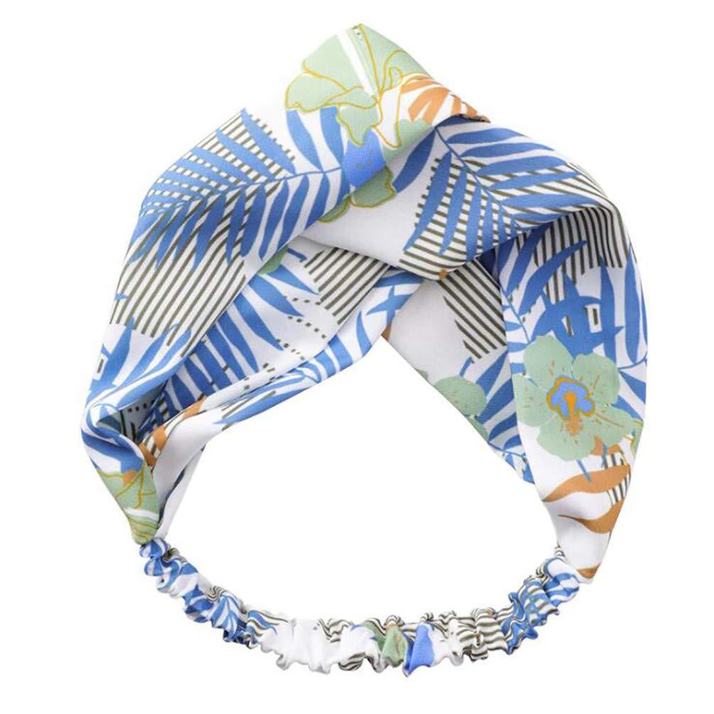 LANWF Leaf Printed Cross Headbands Knotted Wide Side Headbands Elastic Hair Band Head Wrap Hair Accessories,Green