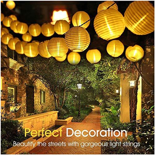 ALOVECO Solar String Lights Lanterns, 6.5m/21.3fts 30 LED Waterproof Outdoor Solar Lights Garden Chinese Lantern, String Lights Fairy Lights for Party Christmas Garden Yard(Warm White)