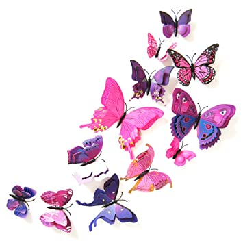 Oblique Unique 3d Schmetterlinge Doppelflügel Effekt Blumen 12er Set
