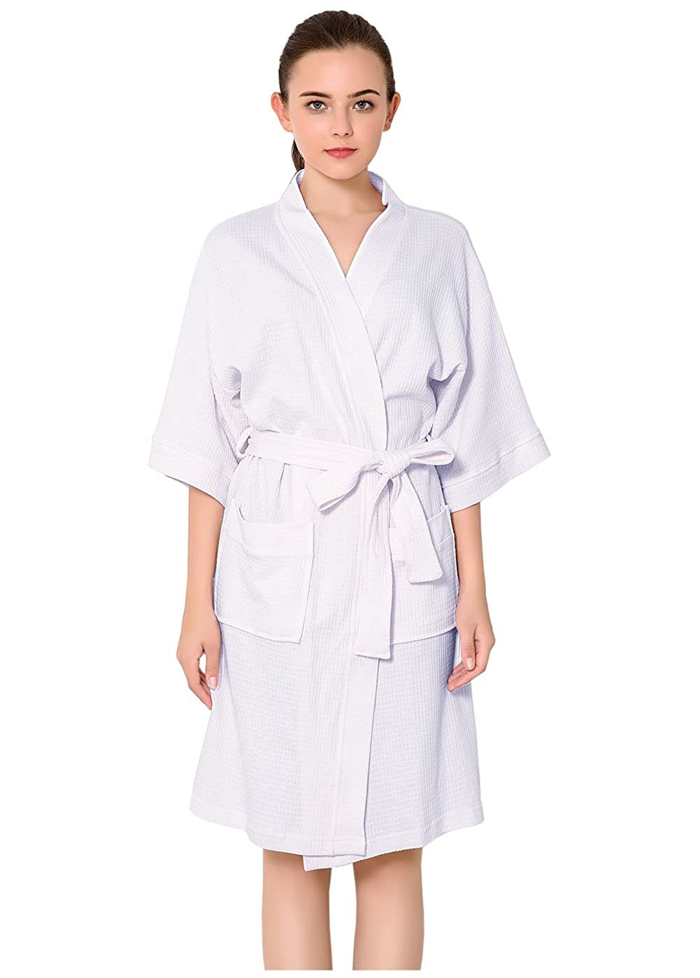 Women Cotton Bathrobe S M  L XL Waffle Weave Dressing Gown Purple Grey  White Sleepwear Kimono Lightweight Night Robe Spa Hotel Housing Robe ... 6f22e182d