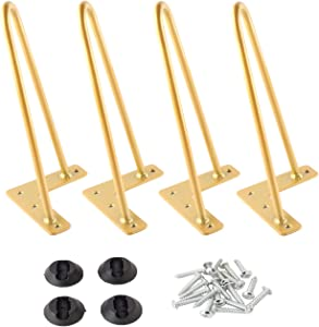 Osring Solid Metal Hairpin Legs 10 Inch Furniture Table Leg 4pcs, 3/8 Inch Dia 2-Rod Hairpin Feet Modern Steel with Protector Pads for TV Stand and Wood Table, Glittery Gold