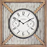 outdoor thermometer wood - FirsTime 31037 Barn Outdoor Wall Clock, Natural Wood