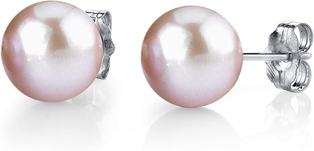 AAA Genuine 10-14mm White Natural Freshwater Cultured Pearl Silver Stud Earrings