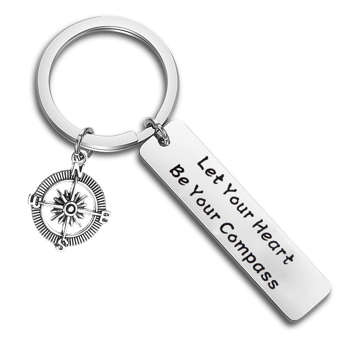 QIIER Let Your Heart Be Your Compass Inspirational Keychain Graduation Gifts Going Away Gifts for Best Friend Coworker Colleague (Silver)