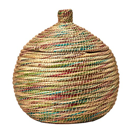 Large Woven Kaisa Basket With Lid 'Swirling Color Kaisa Basket'