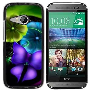 Caucho caso de Shell duro de la cubierta de accesorios de protección BY RAYDREAMMM - HTC ONE MINI 2 / M8 MINI - Blurry Vibrant Teal Butterfly