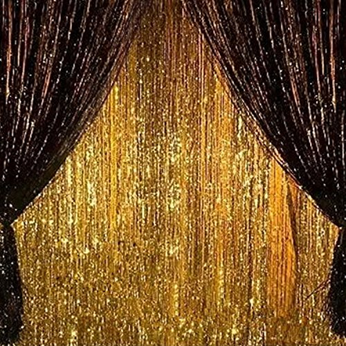 2PCS 3' X 8' Gold and Black Metallic Tinsel Foil Fringe Curtain Halloween Party Decoration]()