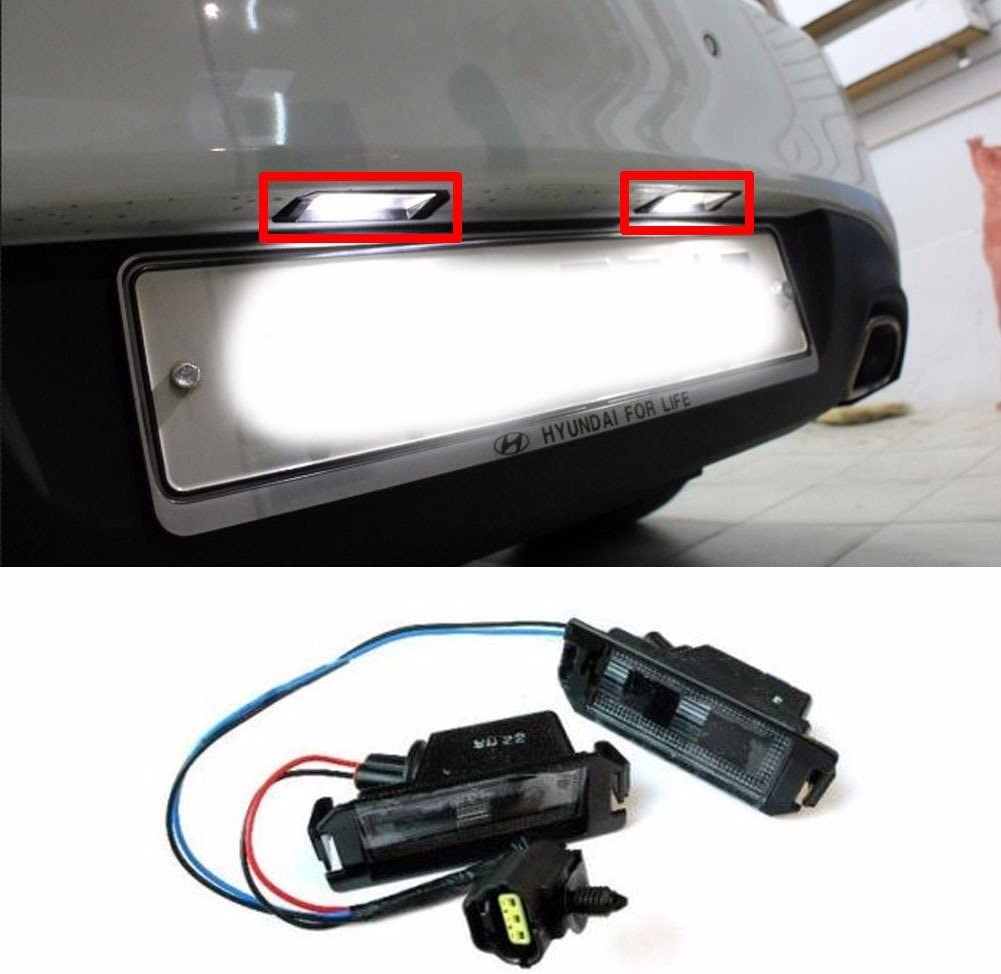 2-Pieces VIPMOTOZ Full LED License Plate Light Lamp Assembly Replacement For Hyundai Genesis Coupe Volester Kia Soul EV 6000K Diamond White