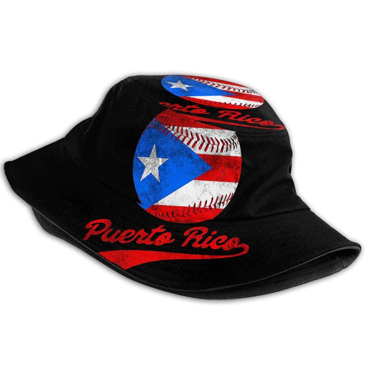 Bucket Hat Packable Reversible Puerto Rico Baseball Ball Flag Puerto Rican Print Sun Hat Fisherman Hat Cap Outdoor Camping Fishing Safari for Men Women Black