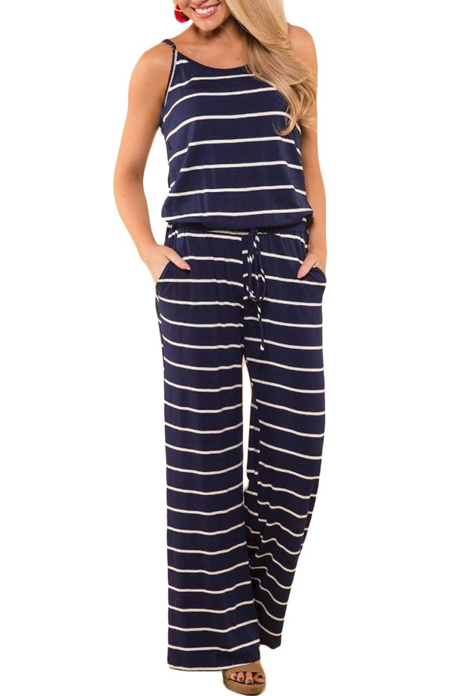 For G and PL Women Casual Loose Sleeveless Striped Wide Leg Playsuit Cotton Halter Strap Long Pants Jumpsuit Romper Navy S