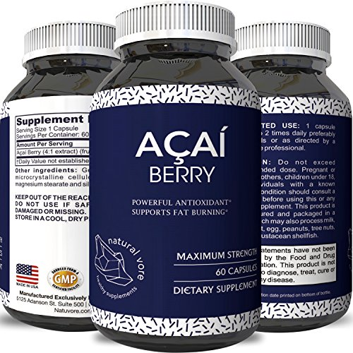Pure Acai Berry Pills – 600mg Premium Concentrate Pills for Weight Loss – Fat Burner Pills – 100% Natural Potent Acai Berry Diet Supplement Capsules – Antioxidant Cleanse + (Acai Berry Diet)
